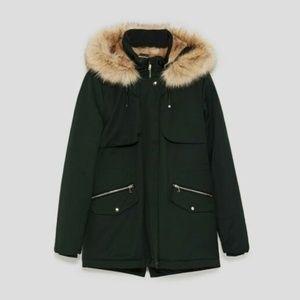 Zara TRF Faux Fur Lined Parka Coat: Size XS